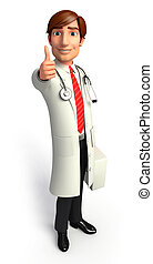 Doctor with best luck sign - 3d rendered illustration of...