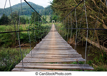Rope bridge - Suspension bridge to cross the river, the...