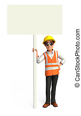 Worker with sign - 3d rendered illustration of Worker with...