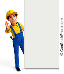 Plumber with sign - 3d rendered illustration of Plumber with...