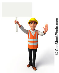 Worker with big white sign