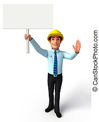 Service man with white sign - 3d rendered illustration of...