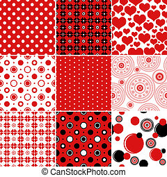 Set seamless vintage patterns classic red, white and black...