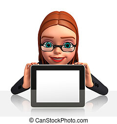 Business Woman with i pad - 3d rendered illustration of...