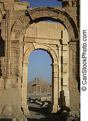 Arches, pillars and castle of ruins in Palmyria Syria. -...