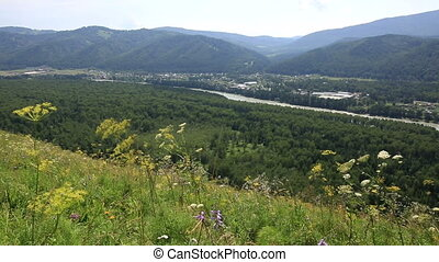 Panorama Altai Mountains from Mount Bloody Finger. Russia.