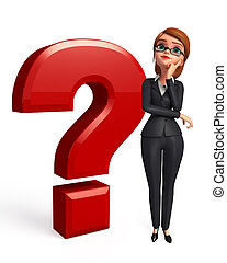 Business Woman with Question mark - 3d rendered illustration...