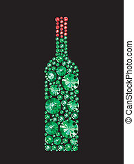 Bottle Of Wine - Bottle of wine made of gems