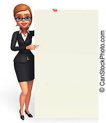 Business Woman with sign