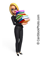 Business Woman with books pile - 3d rendered illustration of...