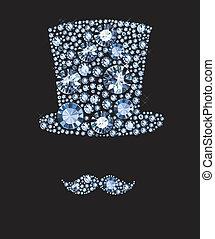 diamante, chapéu, e, Bigodes