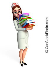 Young Nurse with books pile - 3d rendered illustration of...