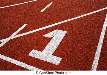 Running track with number 1, abstract, texture, background.