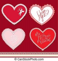 Set of hearts shape are made of lace doily, elements for Valentines Day or wedding design