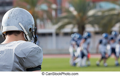 American football player - View of an American football game