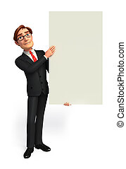 Business Man with sign - 3d rendered illustration of...