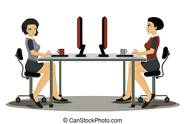 Employees working women - Employees working woman with a...