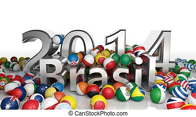 Soccer balls with various flags and 2014 Brasil 3D text isolated on white