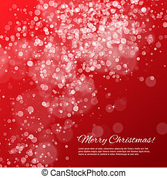 Red Christmas background with bokeh and stars Vector...