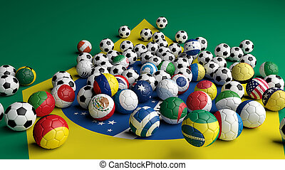 Soccer balls with various flags on Brazilian flag background