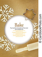 Winter time baking background with copy-space