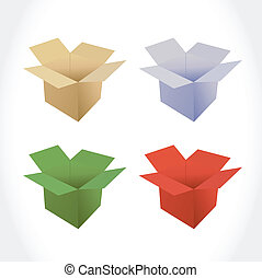 different color set of boxes