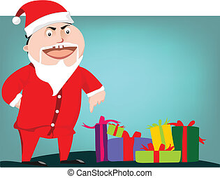 Santa claus pointing on gift boxes