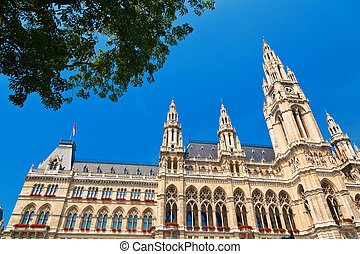 Rathaus - building of town hall in Vienna - Rathaus, built...