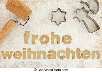 Frohe weihnachten baking preparation background