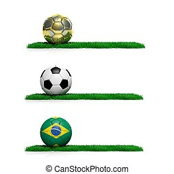 Three banners with 2014 Mundial theme ball and grass on...