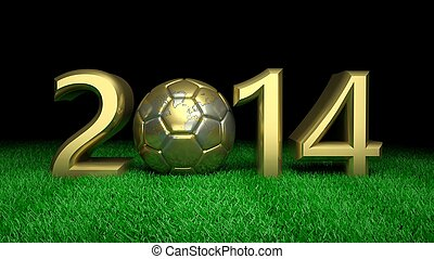 Gold 2014 with gold world soccer ball on grass