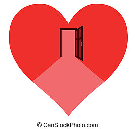 door in the heart - open door in the red heart – waiting...