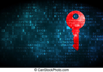 Protection concept: Key on digital background - Protection...