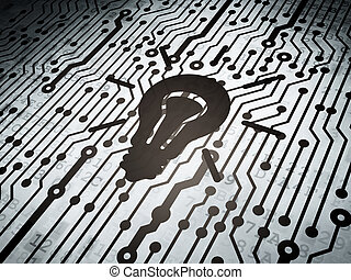 Finance concept: circuit board with Light Bulb