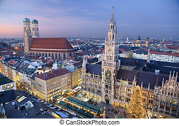 Munich, Germany - Aerial image of Munich, Germany with...