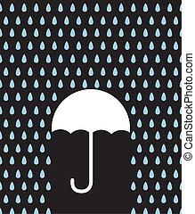 Umbrella Silhouette Downpour - Umbrella silhouette in rain...