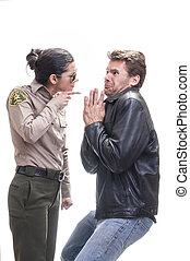 Law enforcement - Frightened Caucasian law breaker begs for...