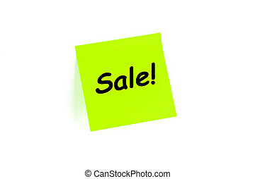 Sale! on a post-it note