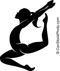 Female Gymnast Jumping - Vector Female gymnast silhouette in...