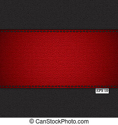 Leather background - Red leather stripe on black leather...