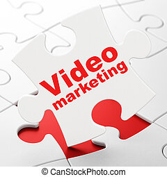 Finance concept: Video Marketing on puzzle background -...