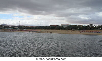 beach of on a cloudy day - beach of Fuerteventura, Canary...