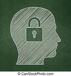 Business concept: Head With Padlock on chalkboard background...