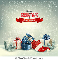 Christmas winter background with presents. Vector.