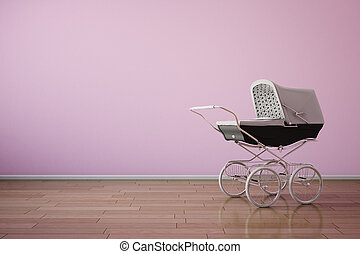Baby stroller on pink wall horizontal - Baby stroller on...