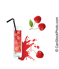 Glass of cherry juice on a white background