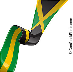 jamaica ribbon flag isolate on white