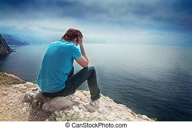 triste, solo, niño, colina, el pasar por alto, mar