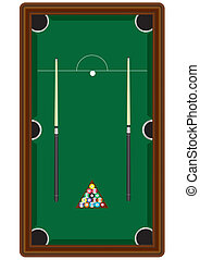 Pool Table - A Pool Table with two cues,cueball, and balls...