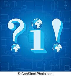 3d blue infoand question mark